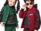 新款男童女童 2014新款春秋装冬装加厚 卫衣三件套装潮品