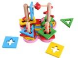 幼得乐木制儿童早教益智玩具运动技能3D蝴蝶套柱积木几何形状配对