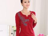 2014新款秋装女式长袖T恤衫印花烫钻V领t恤女大码打底衫优质纯