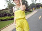 2014夏装新款韩版女装OL撞色修身雪纺背心连体短裤
