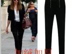 2014英伦风黑白两色休闲长裤女百搭小脚铅笔裤高品质保暖加绒
