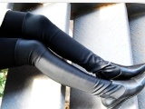 欧美大牌长靴过膝弹力靴真皮低跟靴,厂家直