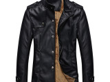 休闲男式皮外套秋冬季德国男装皮夹克 立领PU皮加绒加厚男士皮衣