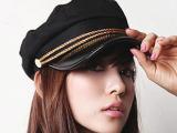 韩版双绳海军帽 双金线平顶帽 金色链条款时尚休闲帽子批发