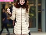 PU皮中长款棉衣女 2014冬季女装新款大毛领大码修身外套棉袄潮