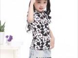 中大女童2014夏新款潮卡通百搭弹力短袖T恤打底衫套头衫