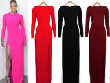 Ebay热卖欧美原单修身性感包臀开叉长款高端长袖铅笔连衣裙