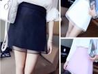 2014韩版新款夏款 韩国超美拼纱A字半身裙短裙