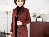 中老年女装春款毛呢外套妈妈装中年女士呢子上衣女式韩版外套批发