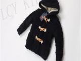 外贸童装 儿童加厚毛衣 韩版 秋冬羊羔绒童外套 针织连帽开衫