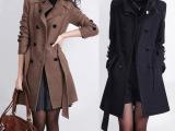 2014春装新款韩版女装中长款大码修身毛呢外套双排扣立领毛呢大衣