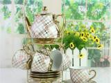 欧式陶瓷咖啡器具 套装咖啡杯子 茶具电镀结婚礼品特价
