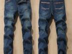 批发国际品牌男士修身时尚牛仔裤 休闲直筒加绒男式保暖长裤代发