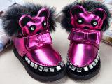 欧洲站新款雪地靴 创意卡通蝴蝶结拼接魔术贴时尚童靴