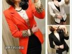 2014春夏装新款 日韩版女装 豹纹翻边单扣修身垫肩小西装