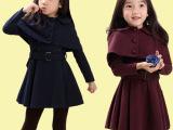外贸品牌 2014秋款外贸韩国品牌女童披肩 裙子两件套风衣连衣裙