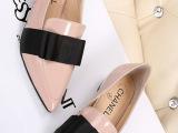 厂家直销欧洲站大牌真皮尖头女鞋蝴蝶结单鞋微信 一件代发