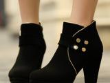 2014韩版新款真皮磨砂粗跟马丁靴 厂家直销粗跟尖头高跟靴子批发
