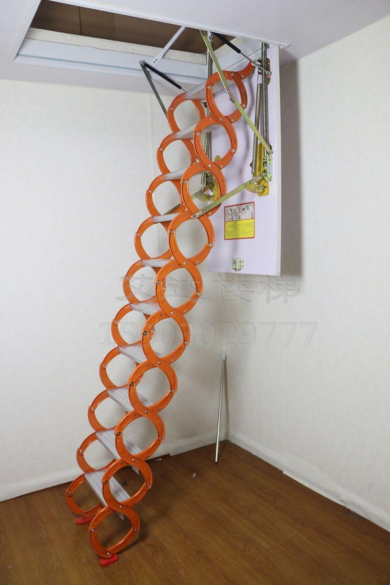 天津市安装电动折叠简易壁挂伸缩楼梯 阁楼楼梯