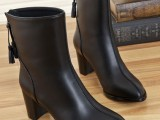 欧洲站2013新款女短靴真皮牛皮低跟粗跟女靴流苏后拉链马丁靴批发