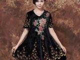 中老年真丝休闲连衣裙 大码宽松花色裙女装 V领短袖印花连衣裙