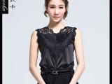 韩版夏季V领无袖上衣t恤女蕾丝衫修身显瘦套头蕾丝花边打底衫女装