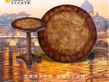 欧式实木小茶几意大利风艺术复古咖啡桌灯台沙发边几角几