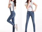 2014夏季款韩版牛仔背带裤女式修身显瘦长裤 可拆卸 两穿