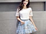2015夏季新款韩版圆领短袖蕾丝衫时尚印花半身裙两件套高腰连衣裙