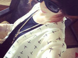 2015夏季防紫外线长款防晒衣 十字架雪纺防晒服 超薄透明外套女