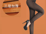 韩国冬季新款三层假透肉加厚加绒打底裤网纱不倒绒保暖女裤批发