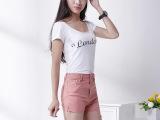 韩版爆款 复古高腰短裤侧边拉链牛仔短裤