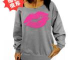 速卖通ebay卫衣女 韩版中长款卫衣嘴唇