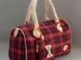 厂家批发时尚流行苏格兰小款女包帆布女包 红色帆布女包批发