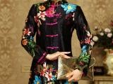 伊曼丝绸服饰中老年大码妈妈装真丝褶皱印花唐装改良修身低价批发