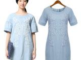 2014夏季新款 林允儿同款 欧美女装刺绣短袖圆领修身牛仔裙连衣