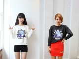 2013秋冬款日系打底衫 宽松三角形宇宙星系字母长袖T恤女款G2
