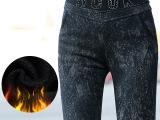 2014年冬季韩版加绒黑色铅笔小脚裤 印花腰头拼接弹力裤子女裤