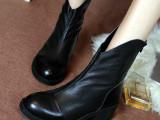2104冬新品欧洲站马丁靴短靴真皮女靴子单靴中跟牛皮英伦手工女靴