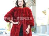 厂家直销高端定制狐狸毛整皮中长款皮草外套 皮草服装