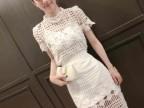 特价直销欧洲站女装新款镂空蕾丝上衣+长裙纯色套装批发