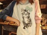 日系女装 秋装新品粉蓝拼色袖绿蝴蝶结装饰印猫图案长袖t恤 307