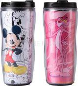 【厂家供应】广告杯380ml双层塑料广告杯、可更换广告纸