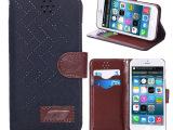 品iphone6格子布纹皮套苹果6代商务手机套iPhone6保护