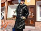2014冬季新款 时尚百搭黑色拼灰色休闲领长款加棉皮衣外套