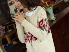 2014秋装新款女装森女系复古玫瑰花绣花开衫花朵毛衣针织外套