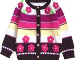 欧洲站女童装开衫毛衣 儿童立体花朵针织衫女 宝宝纯棉针织衫毛衣