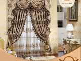 奢华高档客厅窗帘全遮光卧室加厚色织欧式提花布别墅飘窗窗帘