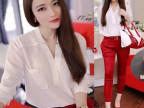 2014欧洲站夏秋新款女装时尚白衬衣+性感提臀红色七分裤休闲套装