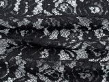 新款蕾丝含棉黑色网布大网眼花朵图案服装女装面料